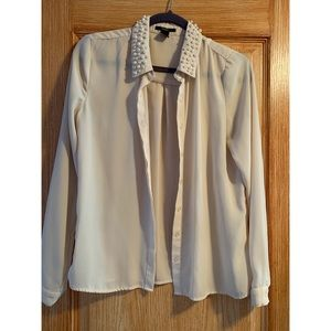 Pearl Collar Button Up Blouse
